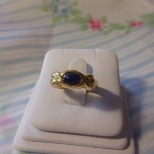 Blue Cabochon Gold Tone Ring Size 6